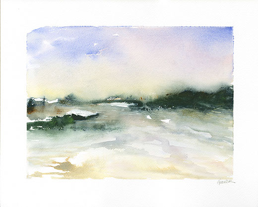 Abstract watercolour landscape painting by Jon Huldrick Wilhelm.