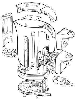 Exploded view of kettle technical illustration by Huldrick.